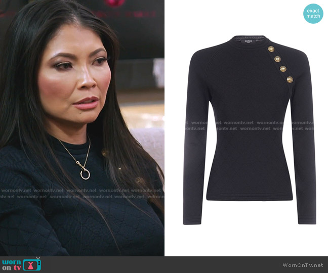 Button Detail Fitted Jumper by Balmain worn by Jennie Nguyen  on The Real Housewives of Salt Lake City