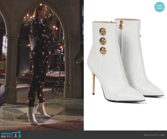 Roni leather ankle boots by Balmain worn by Cheryl Blossom (Madelaine Petsch) on Riverdale