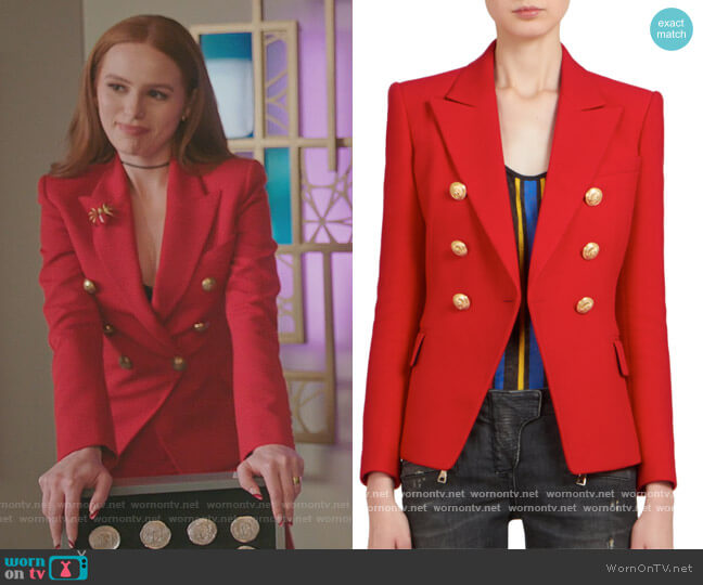 Double Breasted Blazer by Balmain worn by Cheryl Blossom (Madelaine Petsch) on Riverdale