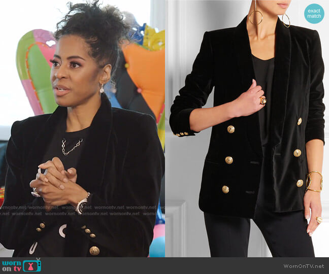 Double Breasted Velvet Blazer by Balmain worn by Mary Cosby  on The Real Housewives of Salt Lake City