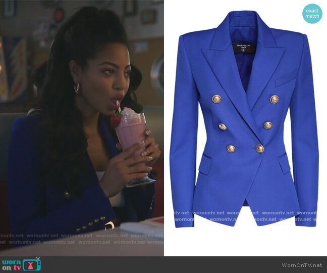 Double Breasted Wool Blazer by Balmain worn by Camille Hyde on Riverdale
