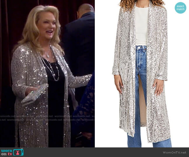 Glitter Bomb Duster by BB Dakota worn by Anna DiMera (Leann Hunley) on Days of our Lives