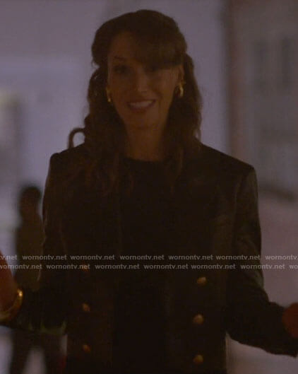 Bette's cropped leather blazer with gold buttons on The L Word Generation Q