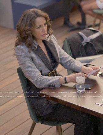 Bette's grey colorblock blazer on The L Word Generation Q