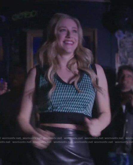Betty's green printed crop top on Riverdale
