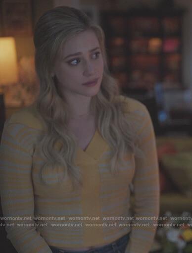 Betty's yellow stripe knit polo shirt on Riverdale