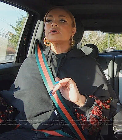 Gizelle's black flame embellished hoodie on The Real Housewives of Potomac
