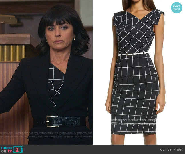 Jackie O Grid Print Sheath Dress by Black Halo worn by Kathleen Gale (Constance Zimmer) on Good Trouble