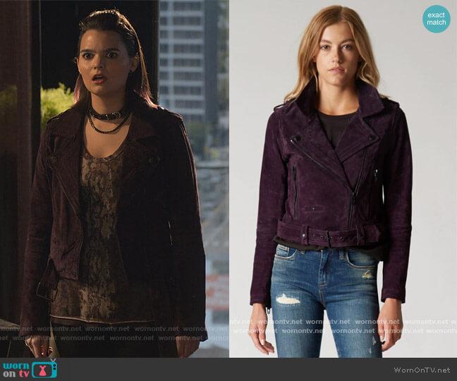 Twilight Suede Jacket in purple by Blank NYC worn by Aurora Decker-Morningstar (Brianna Hildebrand) on Lucifer