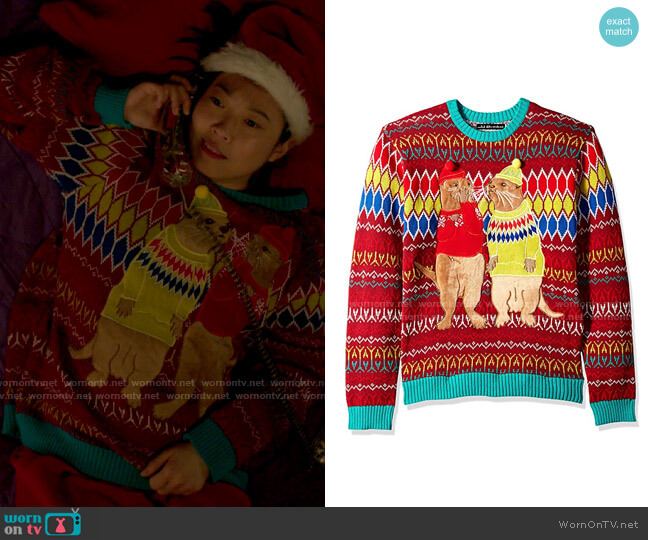 Blizzard Bay Otters in Sweaters Ugly Christmas Sweater worn by Nora Lum (Awkwafina) on Awkwafina is Nora From Queens