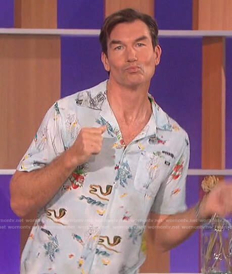 Jerry's blue floral shirt on The Talk