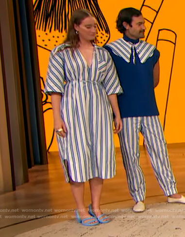 Isabelle Chaput's blue stripe dress on The Drew Barrymore Show