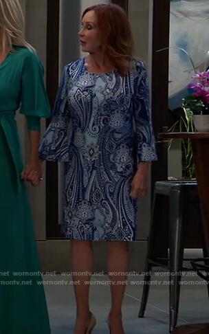 Bobbie's blue paisley print dress on General Hospital