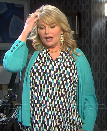 Bonnie's geometric print top and green cardigan on Days of our Lives