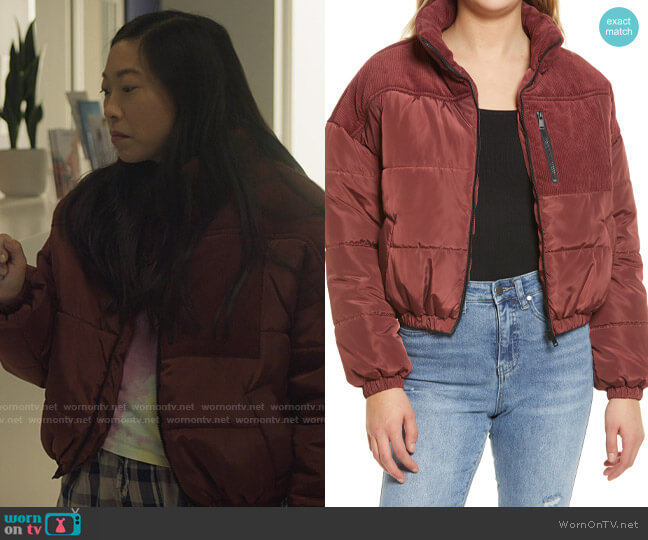 Bp. Mix Media Puffer Jacket worn by Nora Lum (Awkwafina) on Awkwafina is Nora From Queens