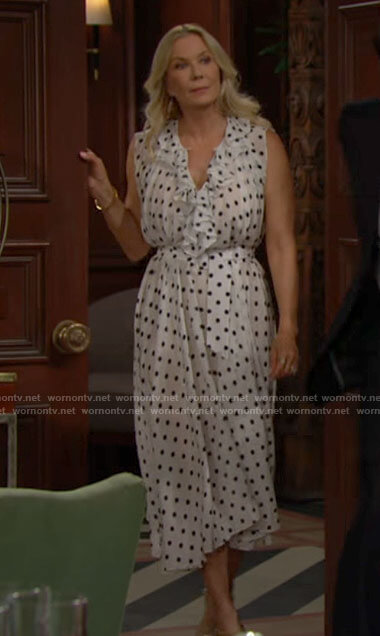 Brooke's polka dot midi dress on The Bold and the Beautiful