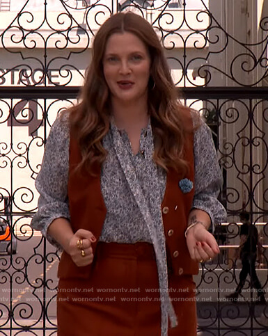 Drew's floral blouse and vest on The Drew Barrymore Show