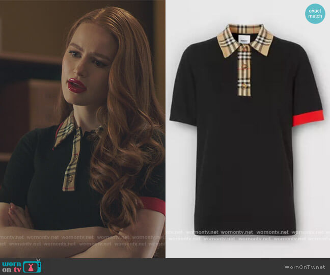 Black contrast trim Polo by Burberry worn by Betty Cooper (Lili Reinhart) on Riverdale