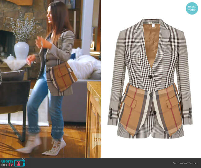 Basque Detail Check Blazer by Burberry worn by Lisa Barlow  on The Real Housewives of Salt Lake City