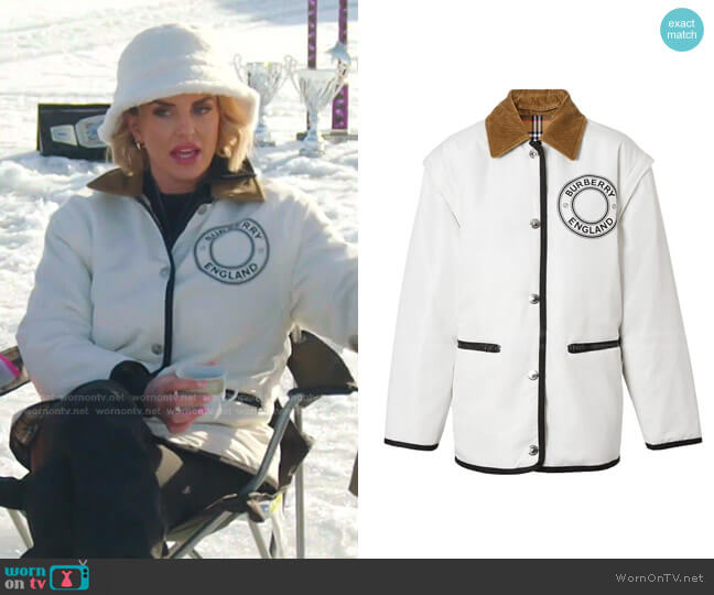 Detachable Sleeve Reversible Logo Graphic Jacket by Burberry worn by Whitney Rose  on The Real Housewives of Salt Lake City