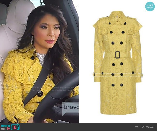 Stanhill Lace Trench Coat by Burberry worn by Jennie Nguyen  on The Real Housewives of Salt Lake City