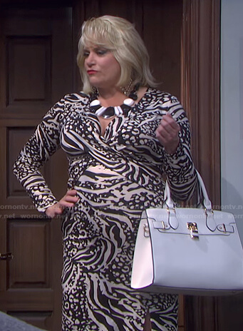 Calista's black and white animal print dress on Days of our Lives