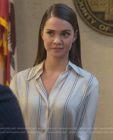 Callie's white striped blouse on Good Trouble