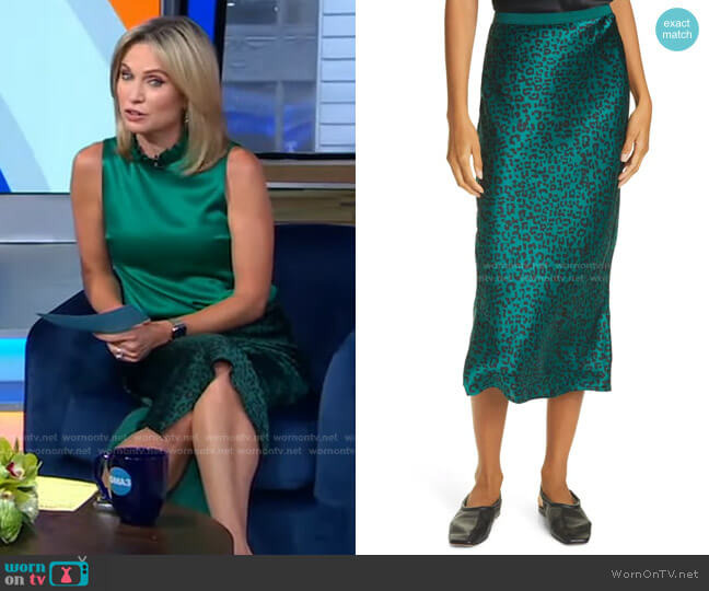 The Jessica Emerald Silk Bias Midi Skirt by Cami NYC worn by Amy Robach  on Good Morning America