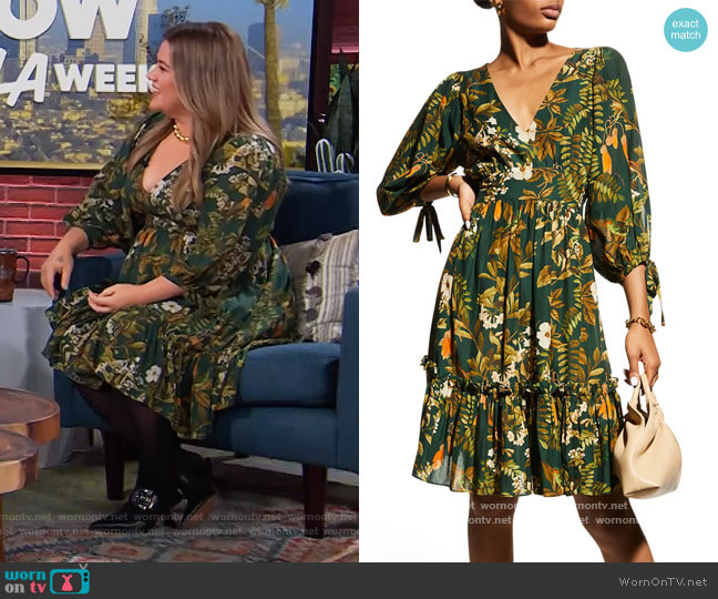 Millbrook Tie-Waist Floral Dress by Cara Cara worn by Kelly Clarkson  on The Kelly Clarkson Show