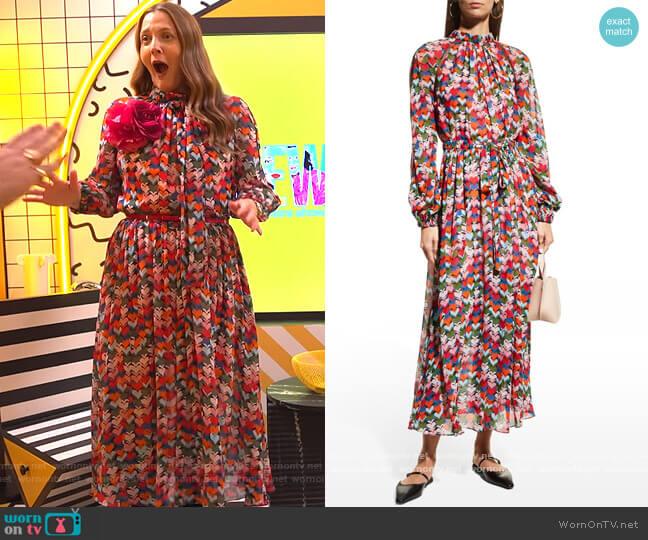 Heart-Print Gathered Midi Dress w/ Mesh Inserts by Carolina Herrera worn by Drew Barrymore  on The Drew Barrymore Show