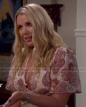 Carrie Brady's metallic pink floral dress on Days of our Lives: Beyond Salem