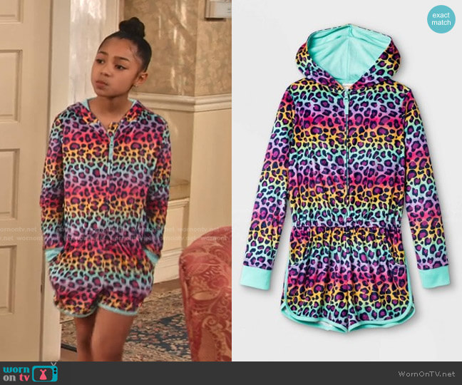 Girls' Rainbow Leopard Print Pajama Romper by Cat & Jack worn by Ami (Jordyn Raya James) on Family Reunion