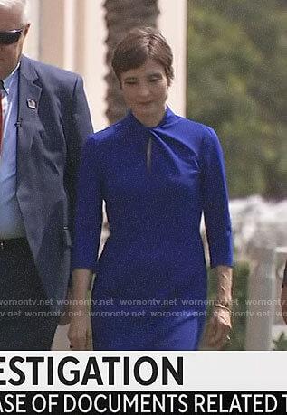 Catherine Herridge's blue twist neck dress on CBS Mornings