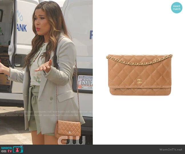 Quilted Wallet On Chain Bag by Chanel worn by Cristal Jennings (Daniella Alonso) on Dynasty