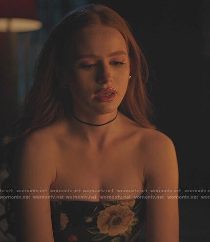 Cheryl's black floral off shoulder top on Riverdale