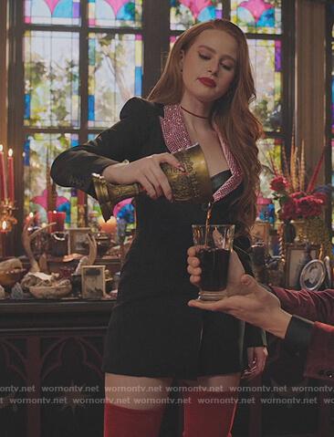Cheryl's black embellished blazer dress on Riverdale