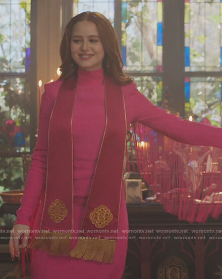 Cheryl's pink dress with drape sleeves on Riverdale