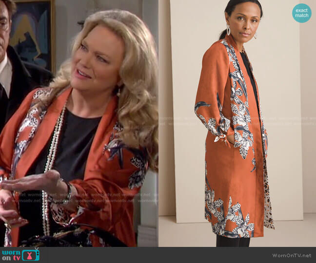 Reversible Floral To Animalprint Duster Jacket by Chicos worn by Anna DiMera (Leann Hunley) on Days of our Lives