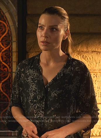 Chloe's black floral shirt on Lucifer