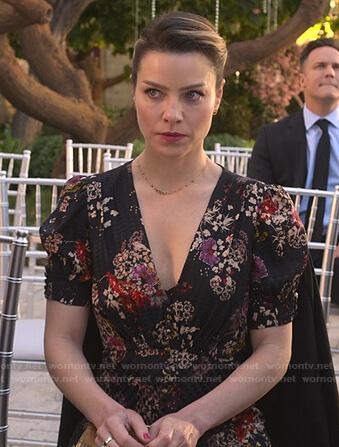 Chloe's black floral v-neck dress on Lucifer