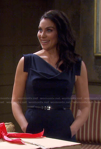 Chloe's navy cowl neck belted jumpsuit on Days of our Lives