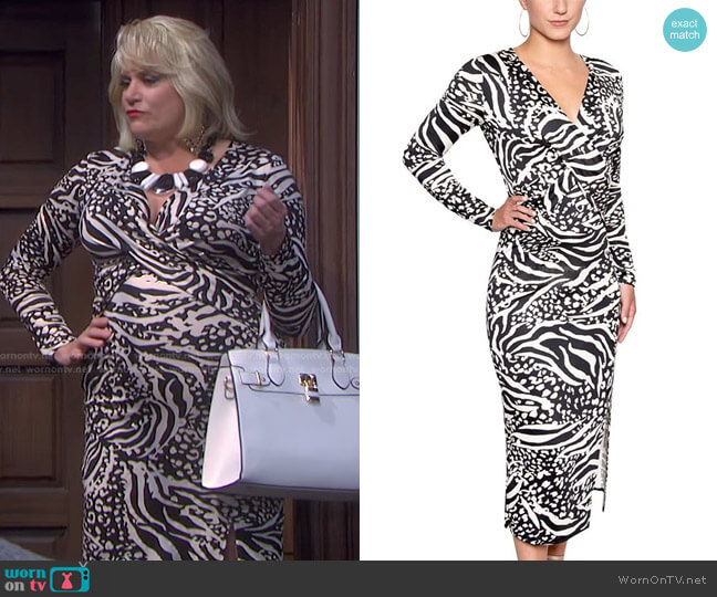 Printed Twist-Front Midi Dress by Christian Siriano worn by Cady Huffman on Days of our Lives