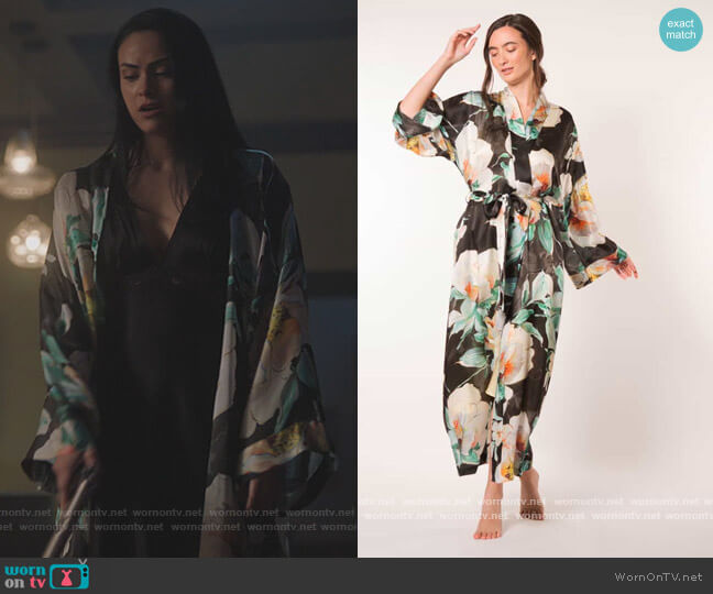 Ophelia Floral Print Long Robe by Christine Lingerie worn by Veronica Lodge (Camila Mendes) on Riverdale