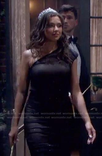 Ciara's black embellished one-shoulder dress on Days of our Lives: Beyond Salem