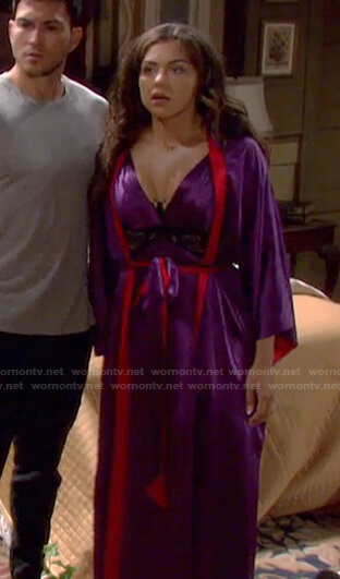 Ciara's purple lace inset chemise and robe on Days of our Lives: Beyond Salem