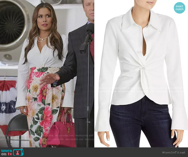 Mckenna Twist-Front Blouse by Cinq a Sept worn by Cristal Jennings (Daniella Alonso) on Dynasty