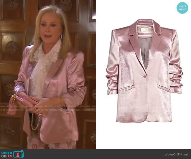 Kylie Satin Blazer by Cinq a Sept worn by Kathy Hilton  on The Real Housewives of Beverly Hills