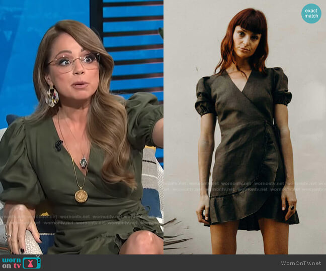 Emilia Dress Short Linen by Claude Tulum worn by Marcela Valladolid on E! News Daily Pop