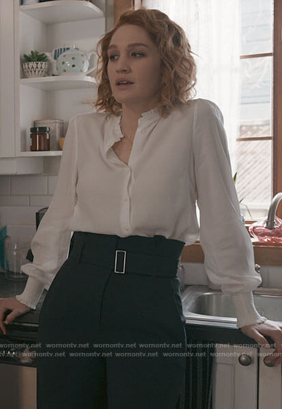 Corinne's white ruffle trim shirt and black belted trousers on The Republic of Sarah