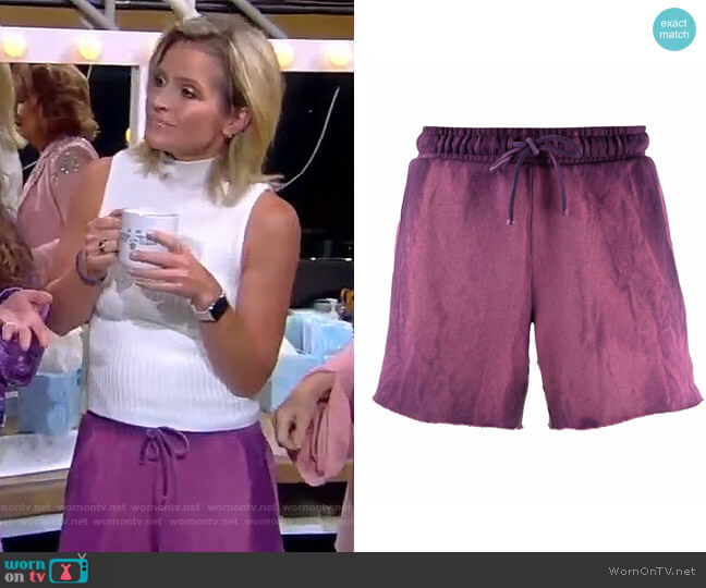 Tie Dye-print Cotton Track Shorts by Cotton Citizen worn by Sara Haines  on The View